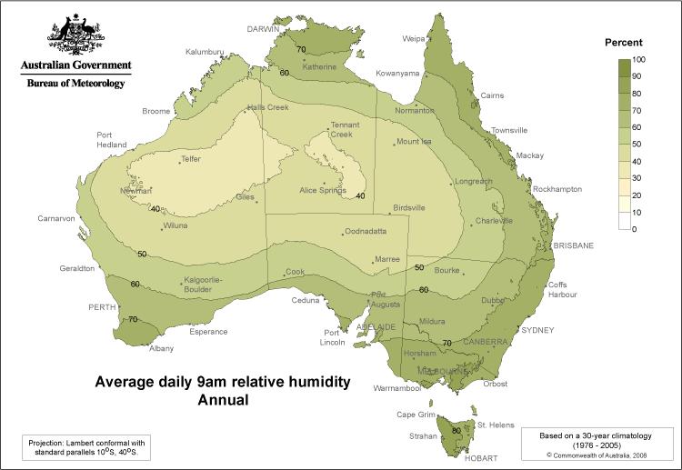 Luftfeuchtigkeit in Australien, Quelle: http://www.bom.gov.au