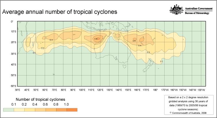 Zyklone in Australien, Quelle: http://www.bom.gov.au